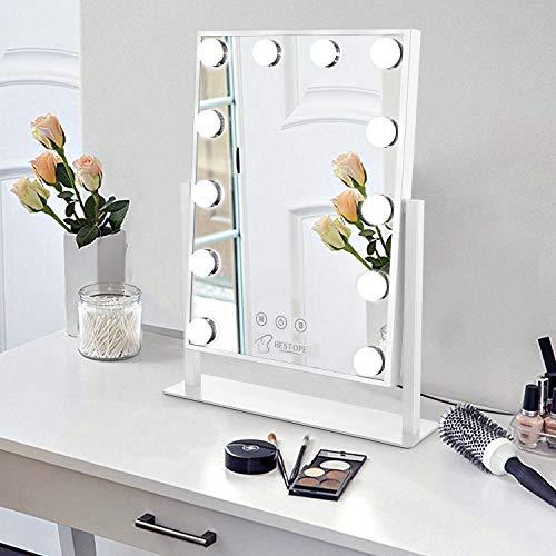 Bestope Miroir Maquillage avec 12 Ampoules LED , Miroir Cosmétique 3 Couleur Réglable, Grand Miroir de Maquillage Lumineux avec Support pour Téléphone Portable
