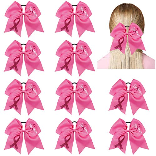 10pcs Breast Cancer Awareness Cheer Bows,7 Inches Pink Cheer Bows For Girls Women In October Cheerleading Hair Elastic Bands