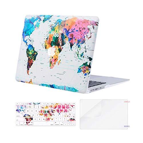 MOSISO Custodia Rigida Compatibile con 2010-2017 MacBook Air 13 Pollici Case A1369/A1466,Cover&Colore Corrispondente Tastiera Cover(Inglese EU Layout)&Proteggi Schermo,Mappa del Mondo