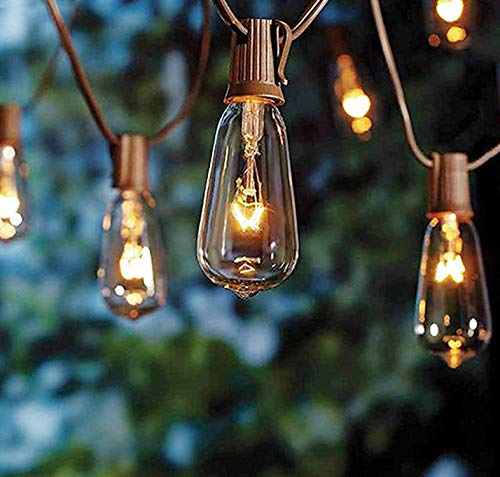 20Ft Edison Christmas String Lights with 22 Glass Clear Edison Bulbs ST40 Vintage Edison String Lights, 7W C9/E17 Screw Base Patio Bistro Backyard Indoor Outdoor Xmas String Lights-Brown Wire