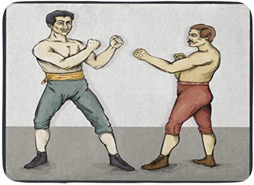 AdaCrazy Dibujo Antiguos Boxeadores Antiguos Capas Grupos Fácil Colorear Forma Sin gradientes Efectos Fondo Patrón Franela Alfombra Piso evitan Desplazamiento Impresión 3D súper Absorbente 60x40cm
