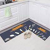 HLXX Alfombrilla Antideslizante para Suelo de Cocina, Felpudo de Entrada Moderno, alfombras Impermeables para el área de la Sala de Estar, Alfombra Absorbente A4 50x80cm + 50x160cm
