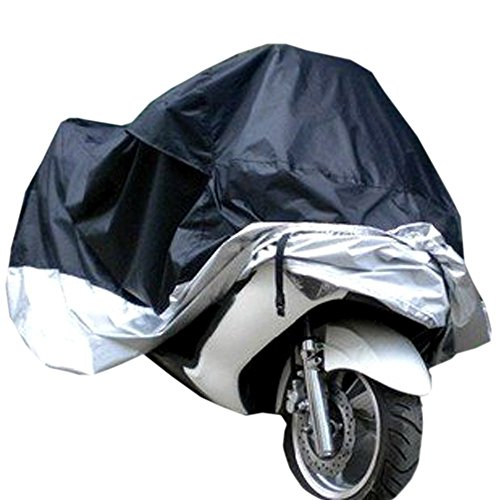 Lyfree Indoor/Outdoor Motorcycle Cover Reflective Waterproof UV Protection Heat  Moisture Guard Vent SportbikeSilverXXL
