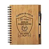 Cuaderno De Notas El Mejor Auxiliar Administrativo Del Mundo - Libreta De Madera Natural Con Boligrafo Regalo Tamaño A5