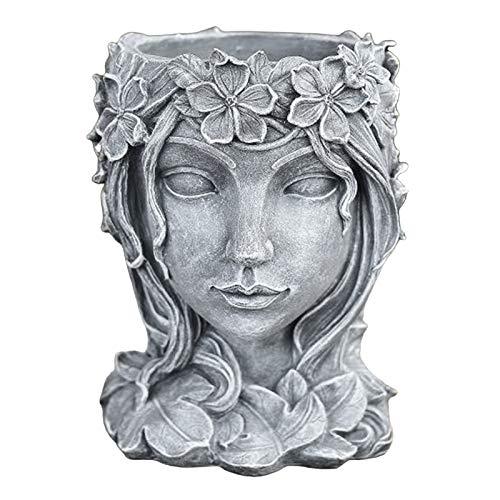 Baoblaze Escultura Facial suculento Cactus Cabeza Maceta contenedor para hogar jardín Oficina Escritorio Decoración - Gris