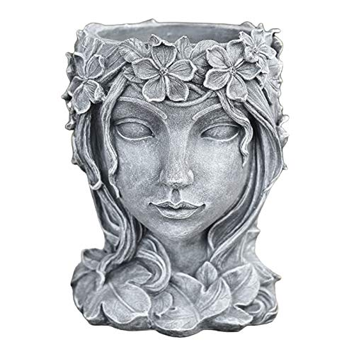 Nobranded Resin Face Art Sculpture Head Planter Flower Pot Handmade for Home - Gray