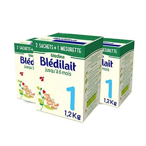 Blédina Blédilait 1, Lait en Poudre pour Bébé , De 0 à 6 Mois, 1,2kg (Boîtex3)