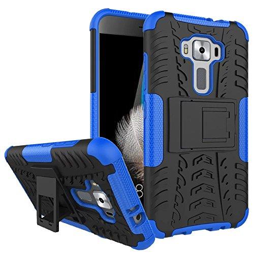 Sunrive Für ASUS ZenFone 3 ZE520KL 5,2 Zoll, Hülle Tasche Schutzhülle Etui Case Cover Hybride Silikon Stoßfest Handyhülle Hüllen Zwei-Schichte Armor Design schlagfesten Ständer Slim Fall(blau)