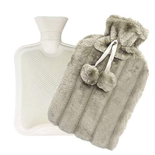 Borsa dell'acqua calda con calotta in peluche super morbida   Borsa dell'acqua calda grande con copertura in finta pelliccia 2L, accogliente scaldacollo e morbida borsa di cotone yangda– grigio chiaro