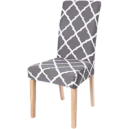 NURB Stretch Dining Chair cover 6pcs Spandex Dining Chair Covers Removable Washable Universal Protector Cover Seat Slipcover for Hotel Dining Room Ceremony Banquet Party (Grey Grid), Floral