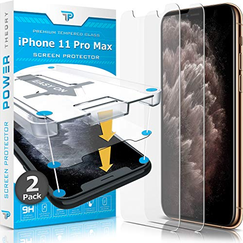 Power Theory Compatible with iPhone 11 Pro Max Screen Protector - Tempered Glass Film for Apple iPhone 11 Max Pro [2-Pack][Case Friendly]