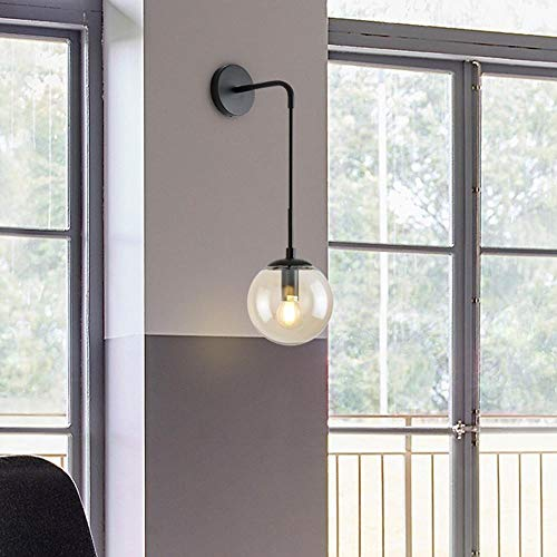 Badkamerspiegel glazen bol wandlamp retro moderne Nordic LED naast de binnenlamp zwart