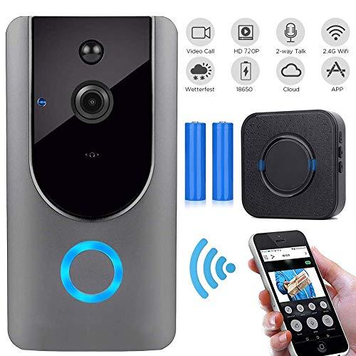 M-TOP Doorbell WiFi Outdoor deurbel Wireless Outdoor Waterdicht met camera 720p HD groothoek 166° bewegingsdetectie PIR-bewegingsdetectie nachtzicht