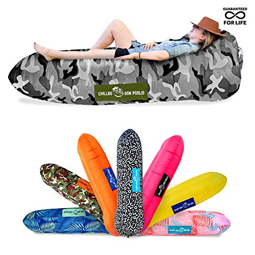 Chillbo Don POOLIO Pool Floats for Adults - Cool Patterns, Inflatable Sofa & Kids Hammock - Best Camping Gear for River Floats Hammock Chair & Raft for Beach (Arctic Camo)