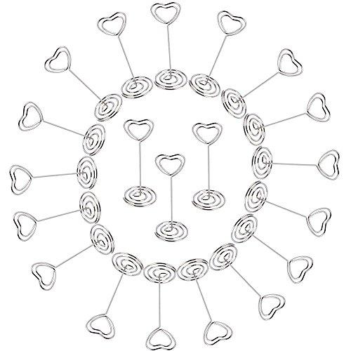 AONER 20 Stück Metall Fotohalter Herz Kartenhalter Platzkartenhalter Tischnummernhalter Tischkartenhalter Namenskarten Halter Memohalter Memo Clip Halter Hochzeit Silbrig