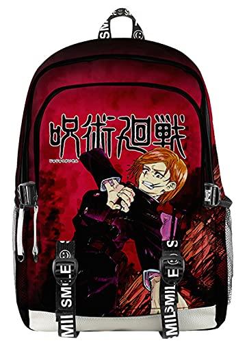 AMOMA Unisex Cosplay Anime Jujutsu Kaisen Daypack Zaini Leggero Casuale Multiuso Tela Zaino(One Size,RedNobara)