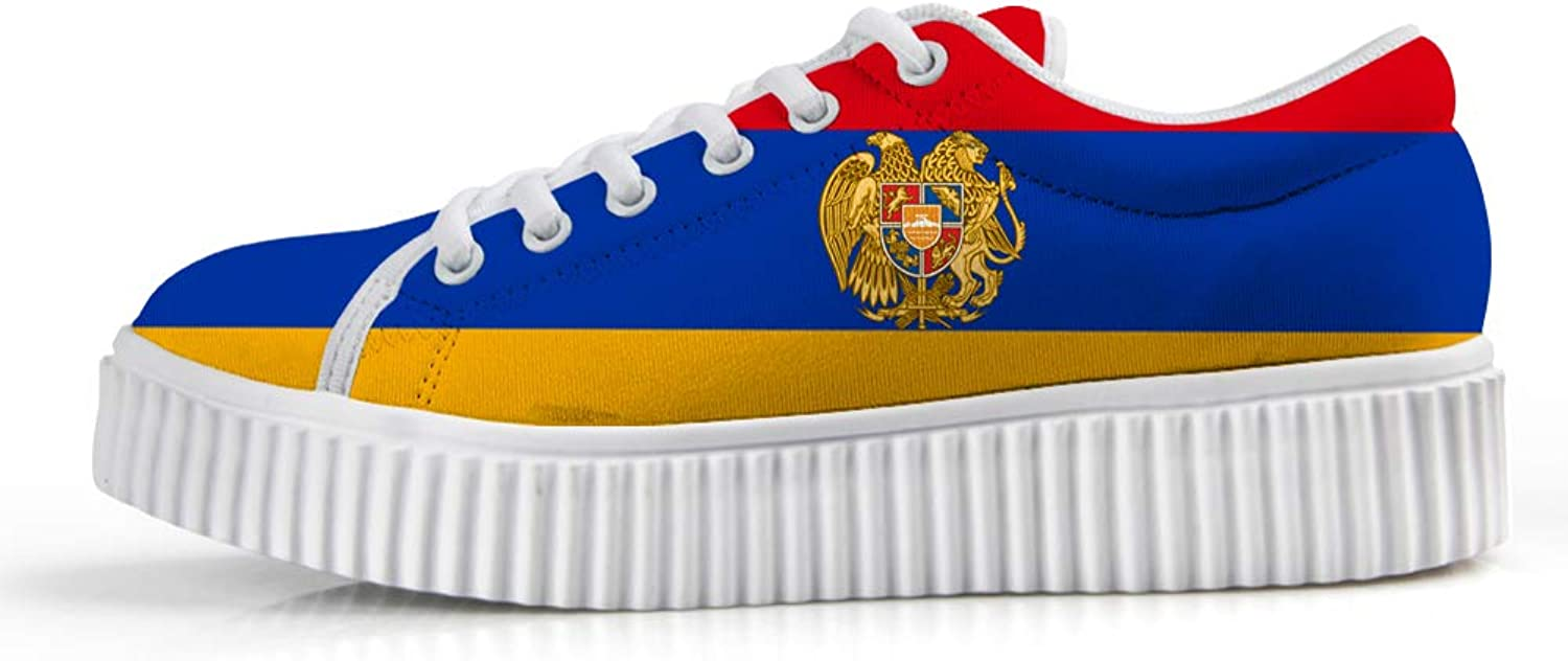 Owaheson Platform Lace up Sneaker Casual Chunky Walking shoes Low Top Women Armenia Flag National Emblem