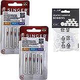 Pack de 10 Agujas para Máquinas de Coser Singer 2020 Universales Grosores 80-90-100 para Tejidos de Algodón y Sintéticos 130/705 H (Talón Plano de un Lado) + 10 Canillas Transparentes