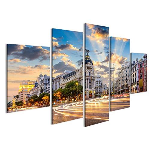 islandburner Cuadro Cuadros Madrid, España, Ciudad en la Calle de Alcalá y la Gran Vía Impresión sobre Lienzo - Formato Grande - Cuadros Modernos