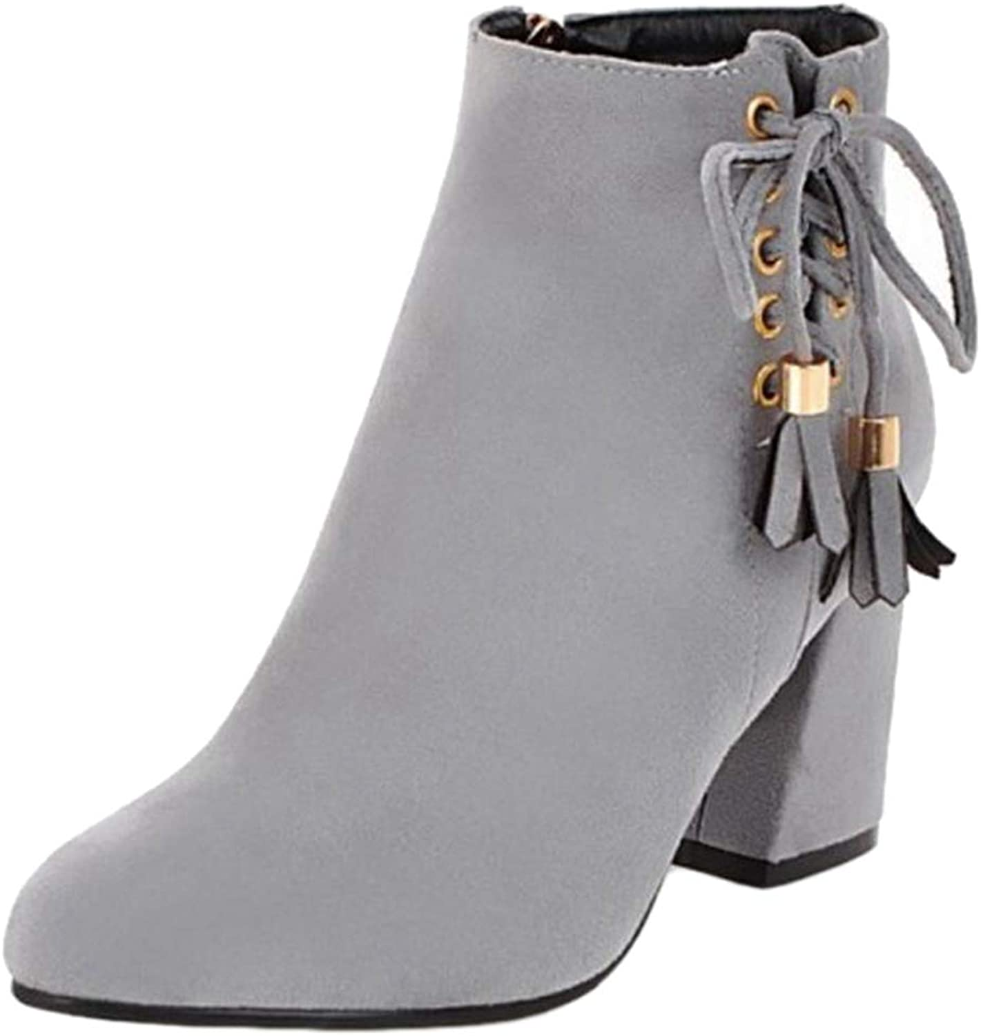 Onewus Women Ankle Chunky Heel Boots