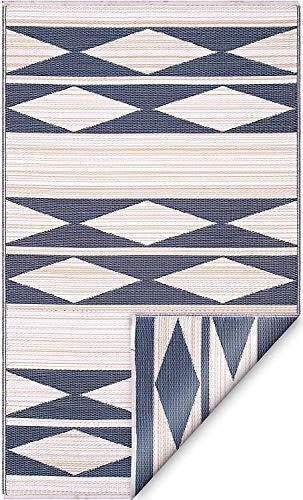 FAB HAB - Cairo - Natural & Black - Teppich/Matte für den Innen- und Außenbereich (90 cm x 150 cm)