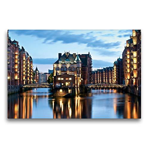 Premium Textil-Leinwand 75 x 50 cm Quer-Format Speicherstadt Hamburg | Wandbild, HD-Bild auf Keilrahmen, Fertigbild auf hochwertigem Vlies, Leinwanddruck von Hans-Joachim Loh