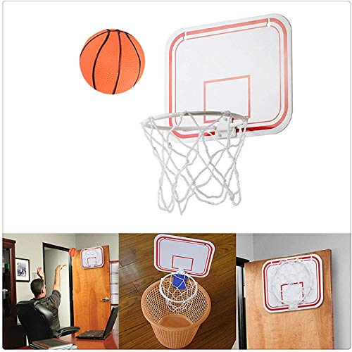 Basketball Hoop Over The Door Mount Indoor Hanging Free Punch Plastic, Indoor Mini Basketball Game,Mini Basketball Hoop for Door with Ball,Best Gift for Kids and Adults (White)
