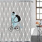 Queenker Lustiger Badezimmer-Duschvorhang, niedliche Katze reitet Fahrrad auf geometrischem Hintergr&, wasserdichtes Polyestergewebe, Badvorhang-Set mit Haken, 183 x 183 cm