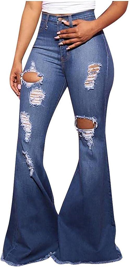 LEIYAN Womens Ripped Bell Bottom Jeans Plus Size High Waist Slim Fit Bootcut Flared Denim Pants