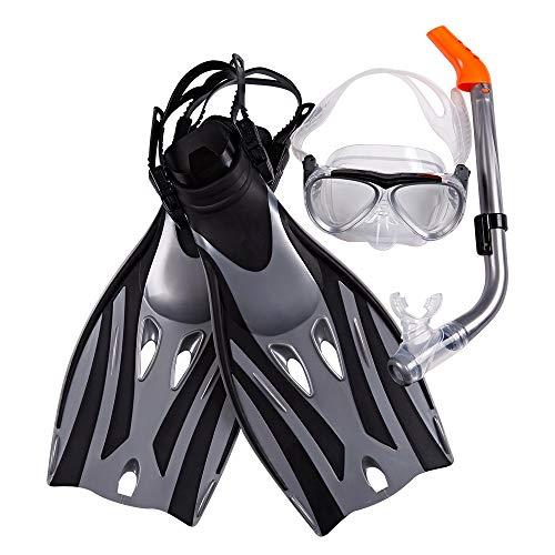 QiHaoHeji Juego de aletas de buceo de tres piezas, aletas de buceo, natación, aletas largas, aletas de silicona para esnórquel y natación (color: negro, tamaño: S/M 27-31)