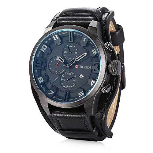 CURREN Herren Quarzuhr Sport Analog Leder Armbanduhr mit Datumsanzeige,3 dekorative Zifferblätter