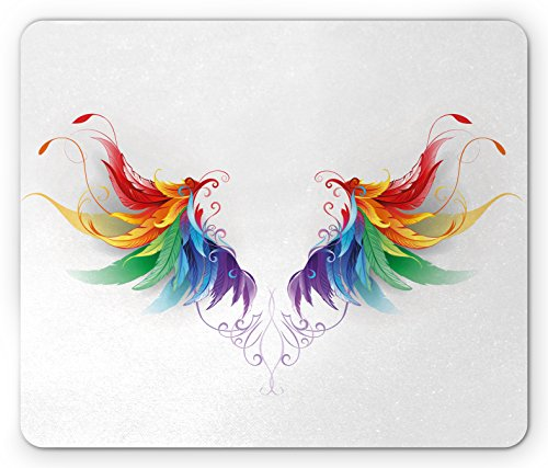 Lunarable Rainbow Mouse Pad, Realistic Looking Feathers in Rainbow Color Forming Wings Flight Angels Symmetrical, Rectangle Non-Slip Rubber Mousepad, Standard Size, Red Purple