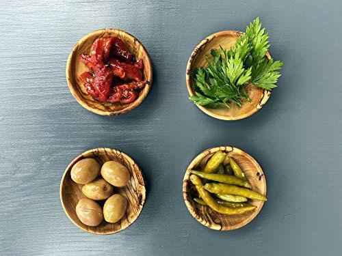 Saucenschalen aus Olivenholz, 4 Stück Soßenschalen, Dip-Schalen, Deko, Testschüssel, Handgemachte Dip-Schale