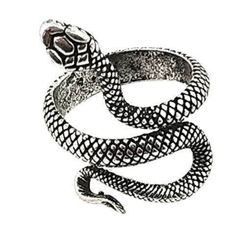 DBSUFV Anillo Unisex Vintage Anillo de Serpiente de Pintura Plateada Anillo de Serpiente Simple de Moda Accesorios de joyería de Moda