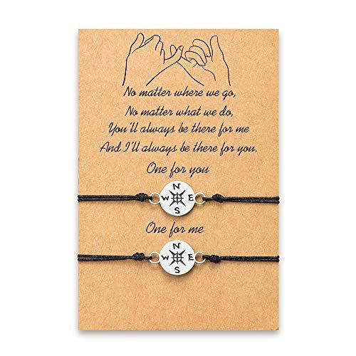 Tarsus Graduation Bracelets Gifts for Her Long Distance Touch Compass Bracelet Set For Best Friends Friendship Bff Women Men
