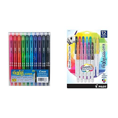PILOT FriXion Clicker Erasable, Refillable & Retractable Gel Ink Pens, Fine Point, Assorted Color Inks, 10-Pack & FriXion Colors Erasable Marker Pens, Bold Point, Assorted Color Inks, 12 Count