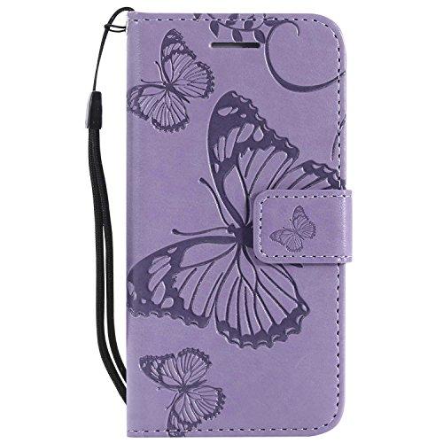 DENDICO - Carcasa para iPhone SE, iPhone 5 y 5S, piel sintética, magnética, con función de soporte y crédito, de poliuretano termoplástico, color morado