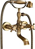 <span class='highlight'><span class='highlight'>Rozin</span></span> Retro Bathtub Mixer Tap with Cross Handle and Hand Shower / Shower Head / Two Handle Mixer Wall Bracket Antique Brass Finish