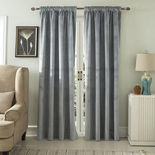 ComforHome Max 72% OFF Popular Solid Soft Velvet Window Pocket Rod Drapes Li Curtain