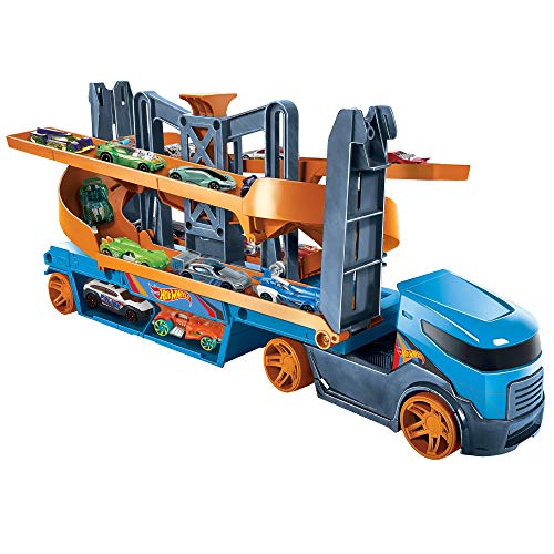 Hot Wheels GNM62 - Hot Wheels Mega Action Transporter mit 1 Hot Wheels Fahrzeug, für Kinder ab 3 Jahren
