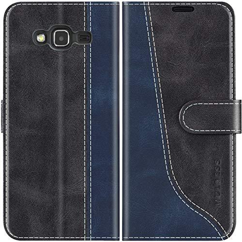 Mulbess Custodia per Samsung J3 2016, Cover Samsung J3 2016 Libro, Custodia Samsung Galaxy J3 2016 Pelle, Flip Cover per Samsung Galaxy J3 Duos 2016 Portafoglio, Nero