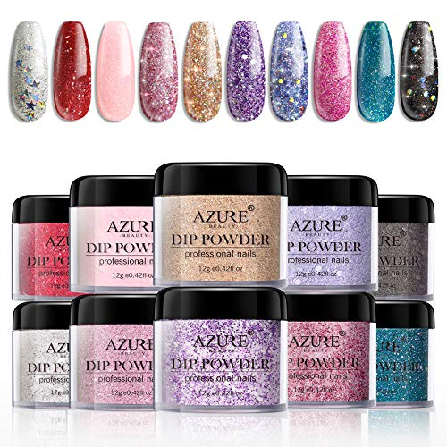 Dipping Nail Powder Colors Set - 10 Glitter Dip Powders Colors Nails Set for Christmas Party Wedding No Nail Lamp Needed for French Nail Manicure Nail Art