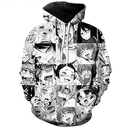 CHENMA Herren Lustiger Ahegao 3D-Druck Pullover Kapuzen-Sweatshirt mit Kängurutasche
