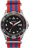 Cressi Manta Watch Reloj Submarino, Plata/Negro/Correa Tejida Rojo/Azul, Uni