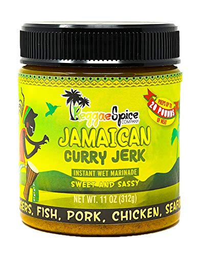 REGGAE SPICE Jamaican Curry Jerk Seasoning Authentic Wet Rub Marinade Sauce - Perfect for Beef, Pork, Chicken, Seafood, and Vegetables - 11 OZ, Sweet and Sassy