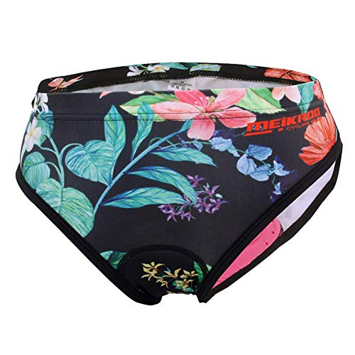 Damen Fahrrad Unterwäsche atmungsaktive Gel 3D gepolsterte MTB Cycling Underwear Pants für Outdoor Sport Radsport (Blumen, XXL)