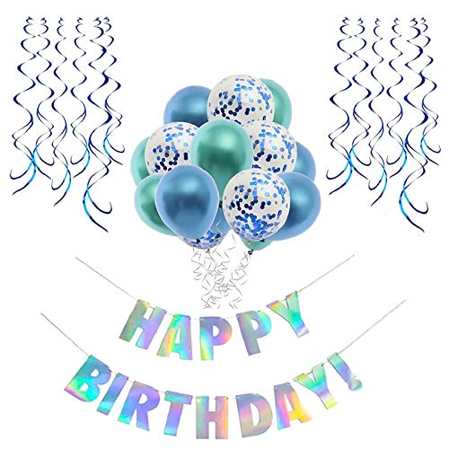 Blue Birthday Decorations,Birthday Party Supplies Kit for Boy and Girl,Happy Birthday Banner,Confetti Balloons,Hanging Swirls,16th 18th 21st 30th Birthday Decoration,Balloons in Blue and Green.