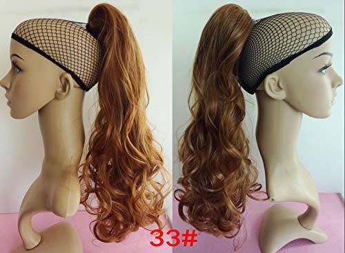 WIG MINE Style rinka rouleau perruque queue de cheval cheveux longs bouclés faux pièce de perruque queue de cheval grosse vague cheveux longs bouclés, 33#