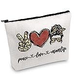 JXGZSO Peace Love Momlife With Leopard Pattern Messy Hair Bun Momlife Cosmetic Bag Messy Hair Bun Makeup Bag Leopard Mom Gift