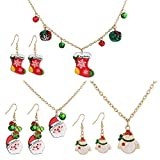 YCAXZSH Juego de 3 Joyas navideñas para Mujer, Lindo Collar de Pendientes navideños, Conjunto para...